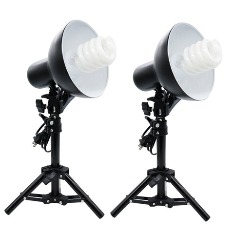 Foto&Tech 2x Metal Product Photography YouTube Video Table Top Fluorescent Lamp Studio Lighting Kit 110-240V + 2x 45W CFL Daylight Spiral Bulb 5500K 110V + 2x Metal Light Stand Tripod