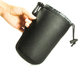Extra Thick 4 Pieces DSLR camera Drawstring Soft Neoprene Lens Pouch Bag Cover size S M L XL