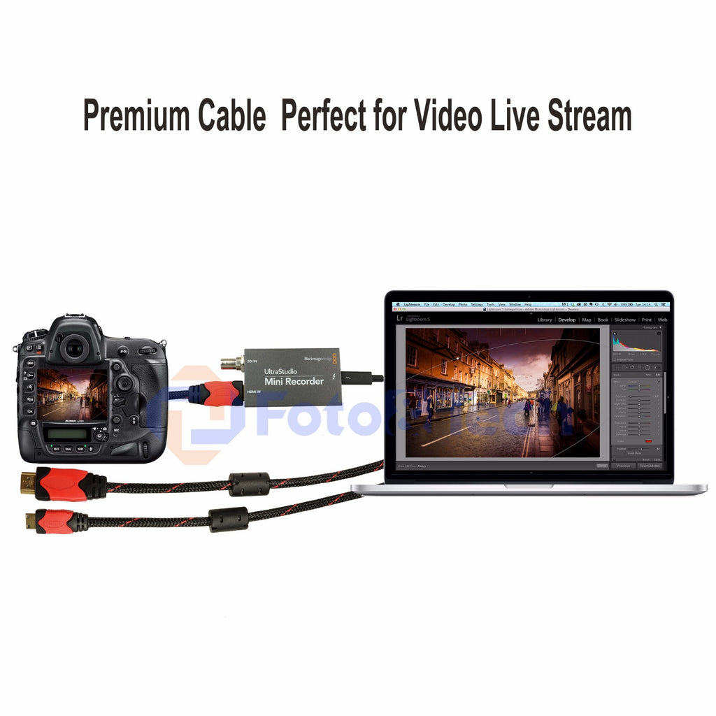 Foto&Tech 10 FT Mini-HDMI to HDMI Braided Cable with Camera