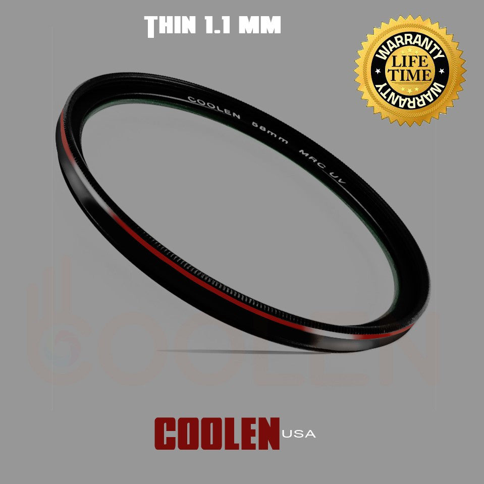 Coolen 58mm Ultra Thin MRC UV Filter Outer Frame Red Plating 2