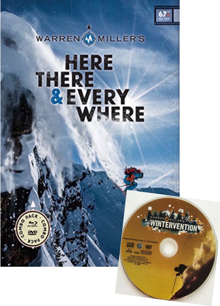 Warren Miller Here There & Everywhere DVD Blu-Ray with Free Wintervention DVD
