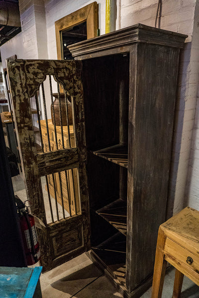 Circa 1900 Teak Cabinet with Iron Bars