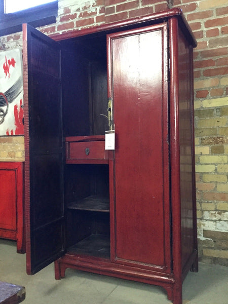 Circa 1920 Red Lacquered Storage Cabinet