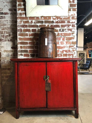 2 Door Red Lacquered Side Cabinet
