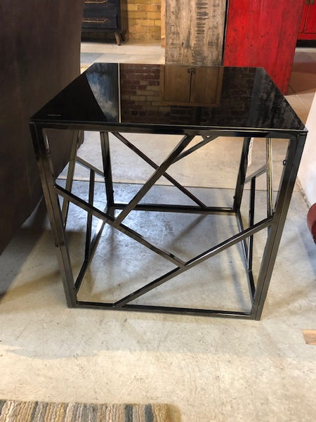 Metal & Black Glass Cube Table