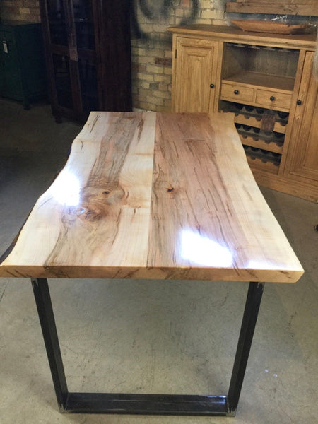 Solid Maple Live Edge Dining Table