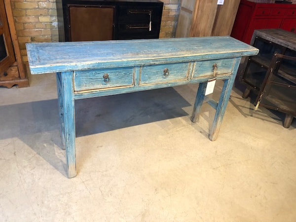 Solid Reclaimed Elm Console w Distressed Turquoise Finish