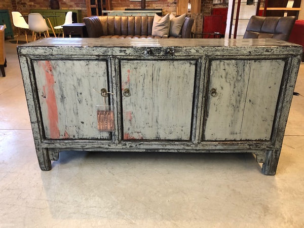 3 Door Lacquered Green/Grey Buffet