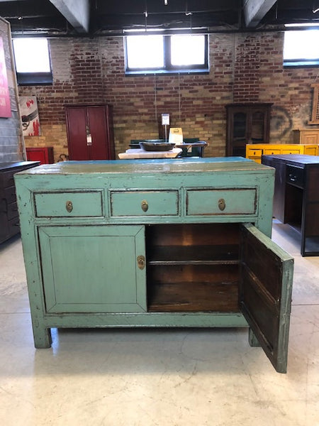 3 Drawer Sage Green Lacquered Buffet