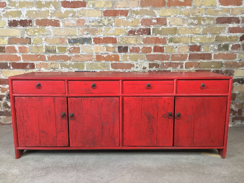 Antique Red Buffet & Sideboard