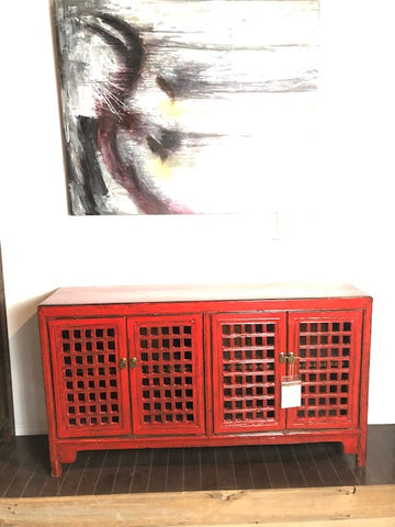 Lacquered Red Buffet Lattice Doors
