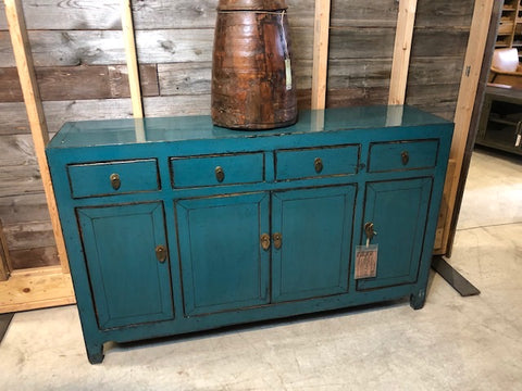 Circa 1920 Lacquered Teal Buffet