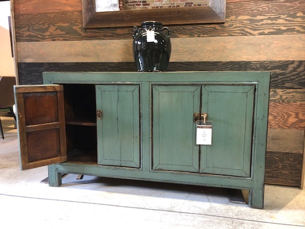 Circa 1920 4 Door Green Lacquered Buffet