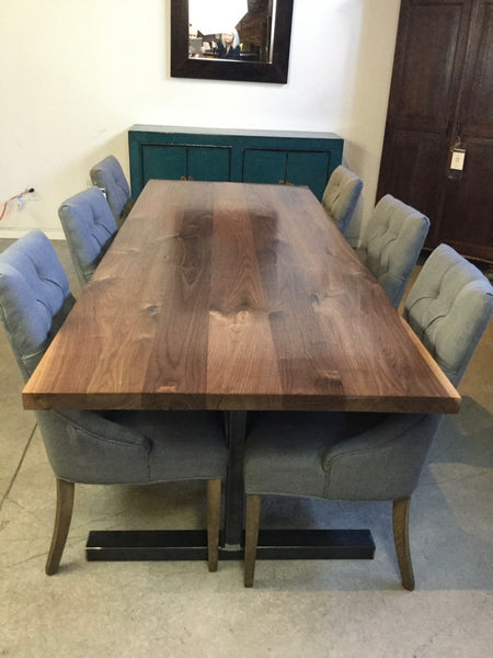 Solid Black Walnut Straight Edge Dining Table