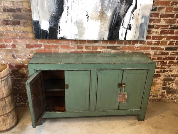Circa 1920 4 Door Sage Green Lacquered Buffet