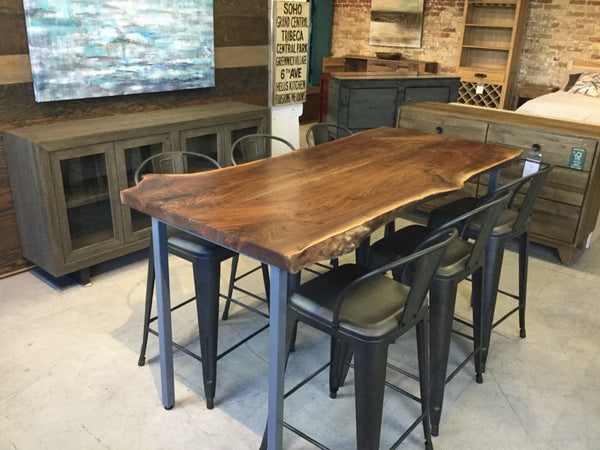 One Piece Black Walnut Live Edge Table - Counter Height
