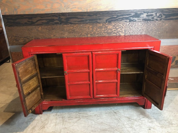 Circa 1910 Red Lacquered Buffet