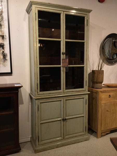 Lacquered Sage Green Display Cabinet