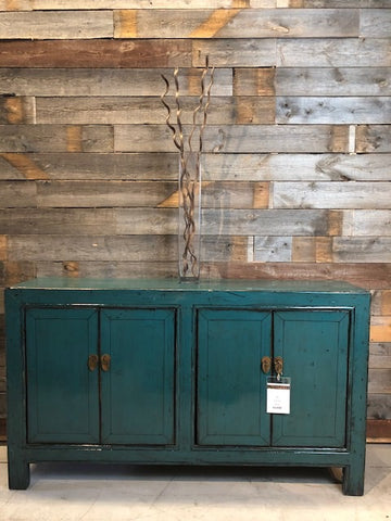 Circa 1920 4 Door Lacquered Teal Buffet