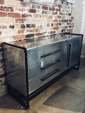 Airplane Wing Style Metal Buffet with Pipe Accents