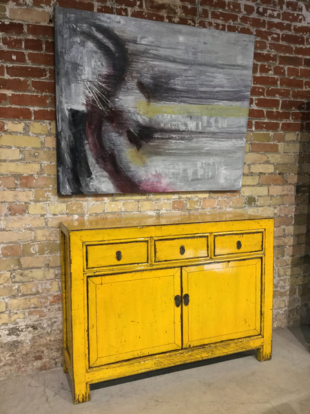 Circa 1900 Yellow Lacquered Buffet