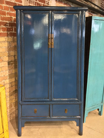 Blue Lacquered Armoire/Storage Cabinet