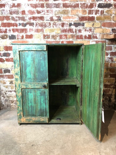 Solid Teak Distressed Green Cabinet