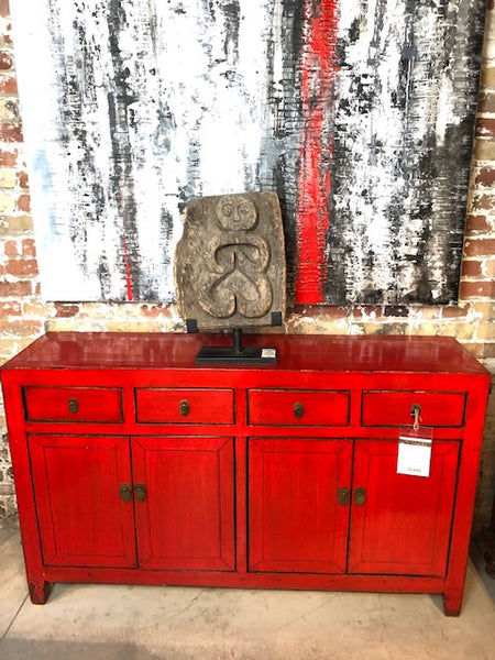 Circa 1920 4 Door/Drawer Red Lacquered Buffet