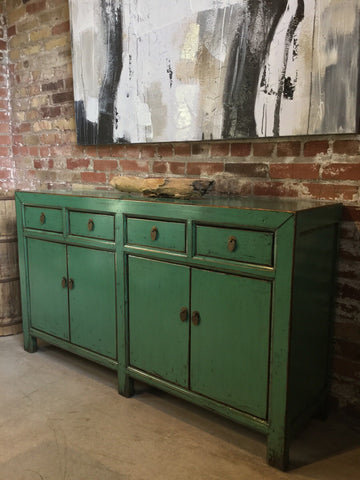 Reclaimed Elm Buffet in Medium Green Lacquer