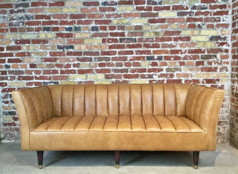 Vintage Leather Sofa - 78""