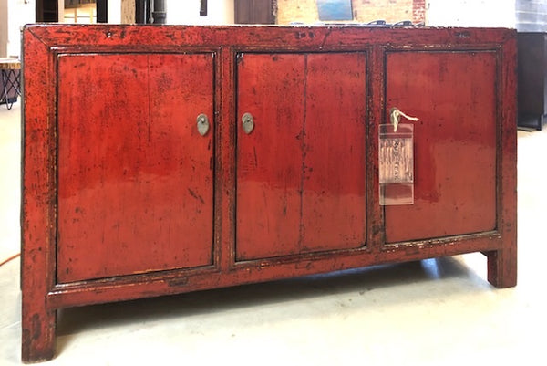 3 Door Red Lacquered Buffet