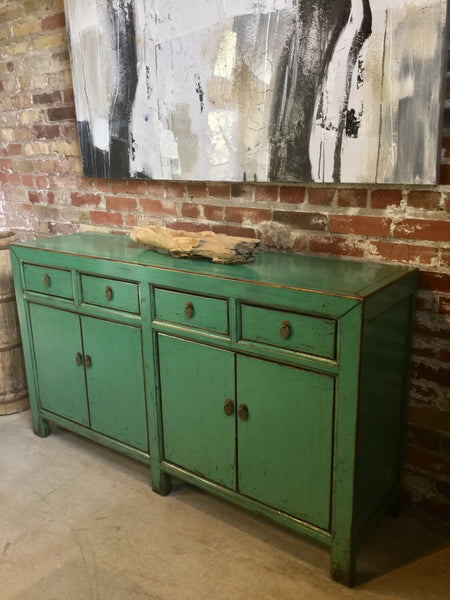 Reclaimed Elm Buffet in Lime Lacqer