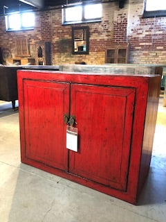 Circa 1920 2 Door Red Lacquered Side Cabinet