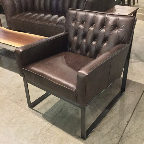 Vintage Leather Tufted Club Chair