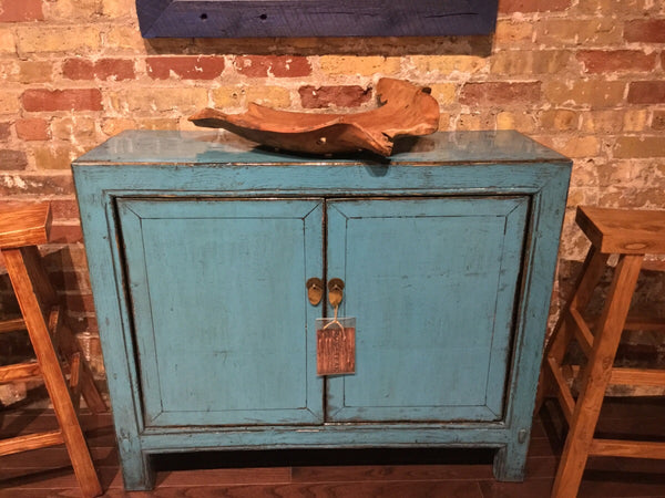 Circa 1940 Lacquered Blue Side Cabinet