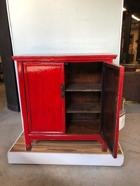 Circa 1920 Red Lacquered Cabinet 2 door