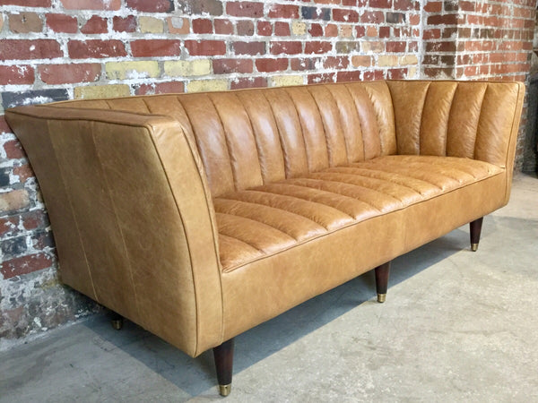 "78"" Vintage Leather Sofa - in WHISKEY ONLY"