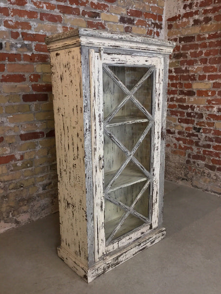 Distressed Teak & Glass Cabinet