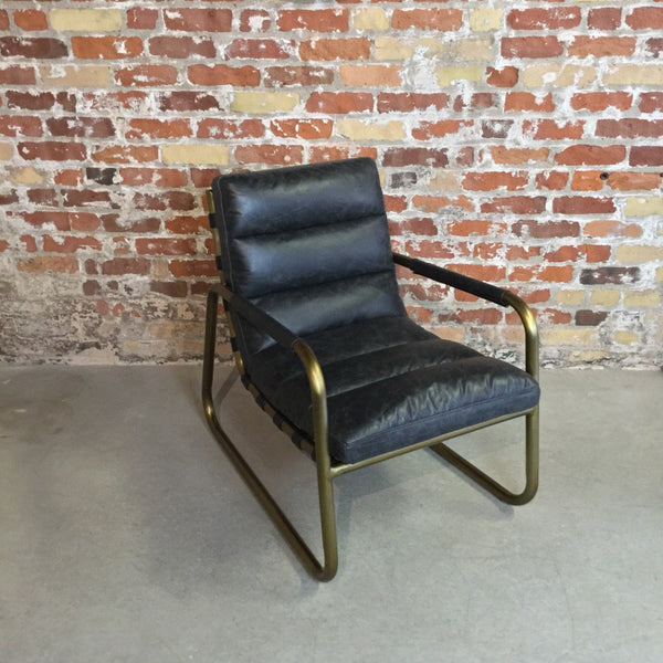 Vintage Leather Armchair with Brass Accent