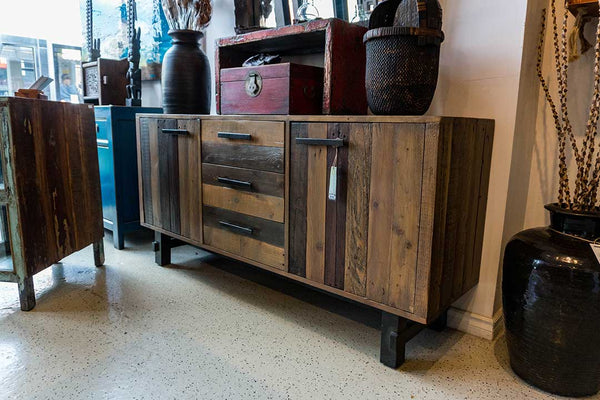 Reclaimed Pine & Metal Sideboard Buffet