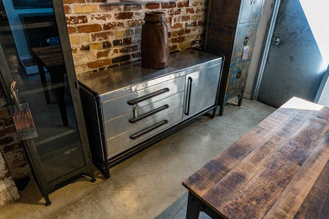 Metal Buffet with Pipe Accents