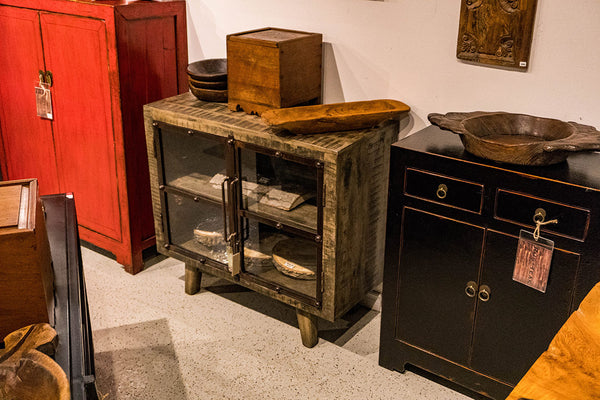 Salvaged Distressed Mango, Iron & Glass Buffet