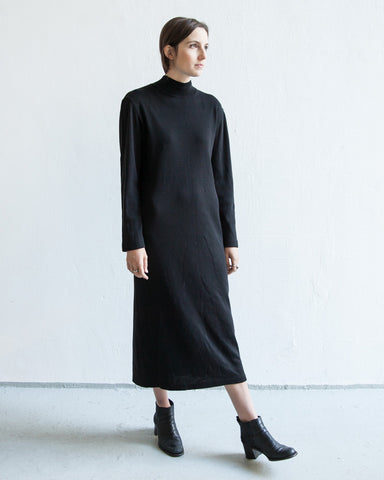 black turtleneck maxi dress