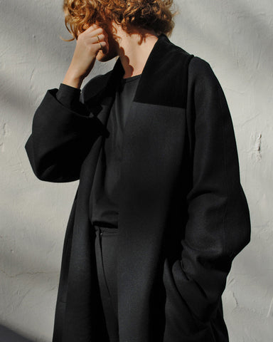 black wool + velvet coat