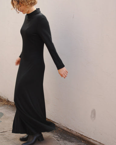 black knit maxi dress