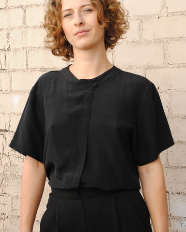 black short sleeve silk top
