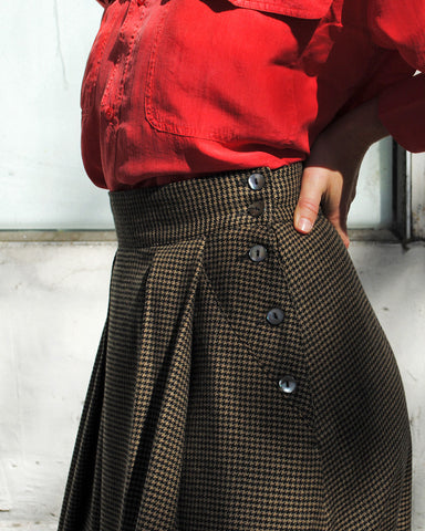 houndstooth swing skirt