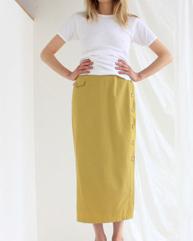 silk-cotton button skirt