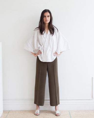 olive silk pant