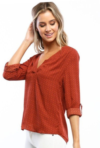 Blouse - Burnt Orange Roll Up Sleeve Blouse